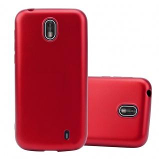 Cadorabo Hülle für Nokia 1 2017 in METALLIC ROT - Handyhülle aus flexiblem TPU Silikon - Silikonhülle Schutzhülle Ultra Slim Soft Back Cover Case Bumper
