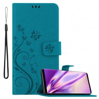 Cadorabo Hülle für Samsung Galaxy NOTE 9 in FLORAL BLAU Handyhülle im Blumen Design mit Magnetverschluss, Standfunktion und 3 Kartenfächern Case Cover Schutzhülle Etui Tasche