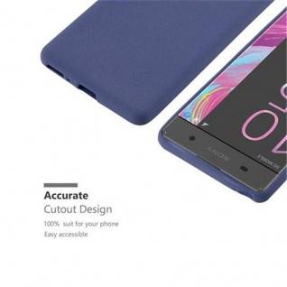 Cadorabo Hülle für Sony Xperia XA in FROST DUNKEL BLAU - Handyhülle aus flexiblem TPU Silikon - Silikonhülle Schutzhülle Ultra Slim Soft Back Cover Case Bumper - Vorschau 3