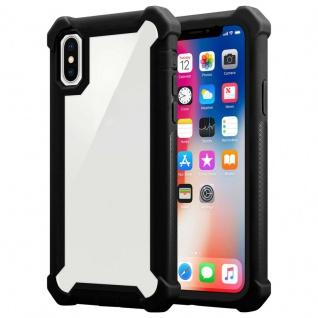 Cadorabo Hülle für Apple iPhone X / XS in ERLEN SCHWARZ - 2-in-1 Handyhülle mit TPU Silikon-Rand und Acryl-Glas-Rücken - Schutzhülle Hybrid Hardcase Back Case