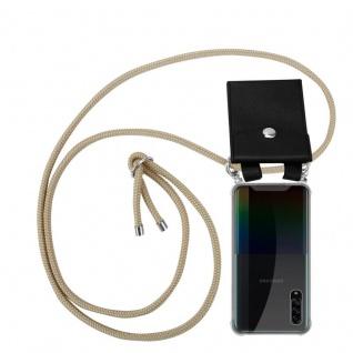 Cadorabo Handy Kette für Samsung Galaxy A90 5G in GLÄNZEND BRAUN Silikon Necklace Umhänge Hülle mit Silber Ringen, Kordel Band Schnur und abnehmbarem Etui Schutzhülle