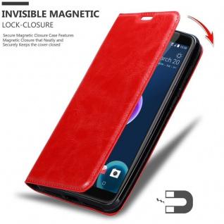 Cadorabo Hülle für HTC Desire 12 in APFEL ROT - Handyhülle mit Magnetverschluss, Standfunktion und Kartenfach - Case Cover Schutzhülle Etui Tasche Book Klapp Style - Vorschau 3