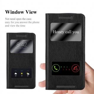 Cadorabo Hülle für HTC One M9 in KOMETEN SCHWARZ ? Handyhülle mit Magnetverschluss, Standfunktion und 2 Sichtfenstern ? Case Cover Schutzhülle Etui Tasche Book Klapp Style - Vorschau 2