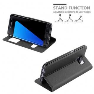 Cadorabo Hülle für Samsung Galaxy S7 EDGE in KOMETEN SCHWARZ - Handyhülle mit Magnetverschluss, Standfunktion und 2 Sichtfenstern - Case Cover Schutzhülle Etui Tasche Book Klapp Style - Vorschau 5