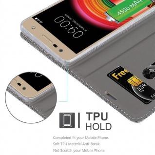 Cadorabo Hülle für LG X POWER 2 in GRAU SCHWARZ - Handyhülle mit Magnetverschluss, Standfunktion und Kartenfach - Case Cover Schutzhülle Etui Tasche Book Klapp Style - Vorschau 2