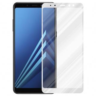 Cadorabo Vollbild Panzer Folie für Samsung Galaxy A8 2018 - Schutzfolie in TRANSPARENT mit WEISS - Gehärtetes (Tempered) Display-Schutzglas in 9H Härte mit 3D Touch Kompatibilität - Vorschau 2