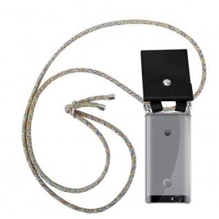 Cadorabo Handy Kette für Huawei NOVA in RAINBOW Silikon Necklace Umhänge Hülle mit Silber Ringen, Kordel Band Schnur und abnehmbarem Etui Schutzhülle