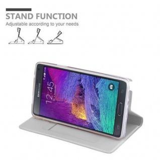 Cadorabo Hülle für Samsung Galaxy NOTE 4 in CLASSY SILBER - Handyhülle mit Magnetverschluss, Standfunktion und Kartenfach - Case Cover Schutzhülle Etui Tasche Book Klapp Style - Vorschau 4