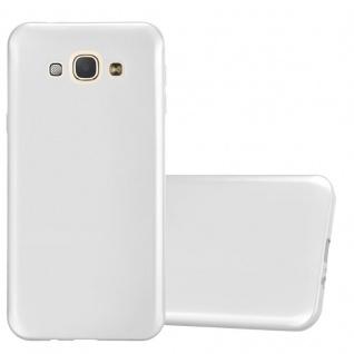 Cadorabo Hülle für Samsung Galaxy A8 2015 in METALLIC SILBER - Handyhülle aus flexiblem TPU Silikon - Silikonhülle Schutzhülle Ultra Slim Soft Back Cover Case Bumper