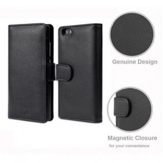 Cadorabo Hülle für Huawei P8 LITE 2015 in OXID SCHWARZ - Handyhülle mit Magnetverschluss und 3 Kartenfächern - Case Cover Schutzhülle Etui Tasche Book Klapp Style - Vorschau 4