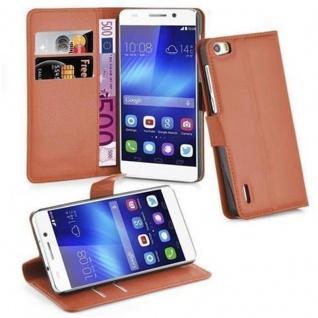 Cadorabo Hülle für Honor 6 in SCHOKO BRAUN - Handyhülle mit Magnetverschluss, Standfunktion und Kartenfach - Case Cover Schutzhülle Etui Tasche Book Klapp Style