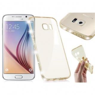 Cadorabo Hülle für Samsung Galaxy S6 - Hülle in TRANSPARENT GOLD - Handyhülle aus TPU Silikon im Strass Design - Silikonhülle Schutzhülle Ultra Slim Soft Back Cover Case Bumper