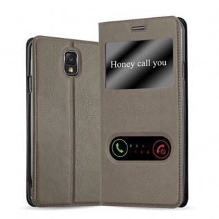Cadorabo Hülle für Samsung Galaxy NOTE 3 in STEIN BRAUN - Handyhülle mit Magnetverschluss, Standfunktion und 2 Sichtfenstern - Case Cover Schutzhülle Etui Tasche Book Klapp Style