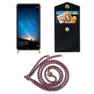 Cadorabo Handy Kette für Huawei MATE 10 / NOVA 2i in ROT WEISS - Silikon Necklace Umhänge Hülle mit Gold Ringen, Kordel Band Schnur und abnehmbarem Etui ? Schutzhülle - Vorschau 5