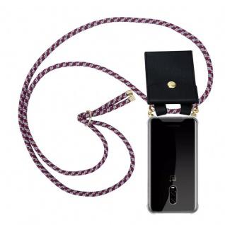 Cadorabo Handy Kette für OnePlus 6T in ROT WEISS Silikon Necklace Umhänge Hülle mit Gold Ringen, Kordel Band Schnur und abnehmbarem Etui Schutzhülle