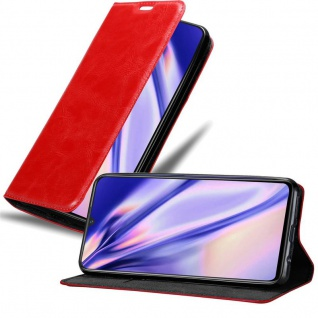 Cadorabo Hülle für Vivo V11 in APFEL ROT - Handyhülle mit Magnetverschluss, Standfunktion und Kartenfach - Case Cover Schutzhülle Etui Tasche Book Klapp Style
