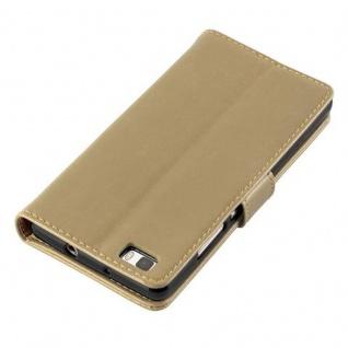 Cadorabo Hülle für Huawei P8 LITE 2015 in CAPPUCINO BRAUN - Handyhülle mit Magnetverschluss, Standfunktion und Kartenfach - Case Cover Schutzhülle Etui Tasche Book Klapp Style - Vorschau 5
