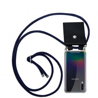 Cadorabo Handy Kette für Samsung Galaxy A70 in TIEF BLAU Silikon Necklace Umhänge Hülle mit Silber Ringen, Kordel Band Schnur und abnehmbarem Etui Schutzhülle