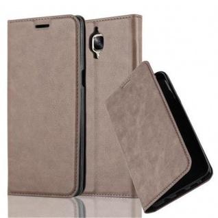 Cadorabo Hülle für OnePlus 3 / 3T in KAFFEE BRAUN - Handyhülle mit Magnetverschluss, Standfunktion und Kartenfach - Case Cover Schutzhülle Etui Tasche Book Klapp Style
