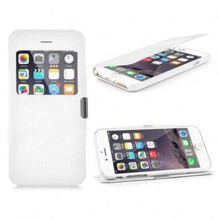 Cadorabo Hülle für Apple iPhone 6 / iPhone 6S - Hülle in MAGNESIUM WEIß ? Handyhülle im View Design mit Sichtfenster - Case Cover Schutzhülle Etui Tasche Book Klapp Style