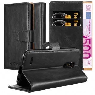 Cadorabo Hülle für LG K10 2017 in GRAPHIT SCHWARZ Handyhülle mit Magnetverschluss, Standfunktion und Kartenfach Case Cover Schutzhülle Etui Tasche Book Klapp Style