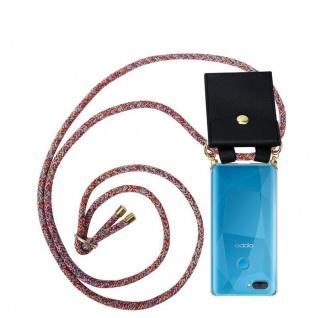 Cadorabo Handy Kette für Oppo A12 in COLORFUL PARROT Silikon Necklace Umhänge Hülle mit Gold Ringen, Kordel Band Schnur und abnehmbarem Etui Schutzhülle