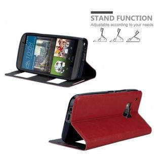 Cadorabo Hülle für HTC One M9 in SAFRAN ROT - Handyhülle mit Magnetverschluss, Standfunktion und 2 Sichtfenstern - Case Cover Schutzhülle Etui Tasche Book Klapp Style - Vorschau 4