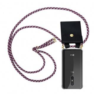 Cadorabo Handy Kette für LG Q9 in ROT WEISS Silikon Necklace Umhänge Hülle mit Gold Ringen, Kordel Band Schnur und abnehmbarem Etui Schutzhülle