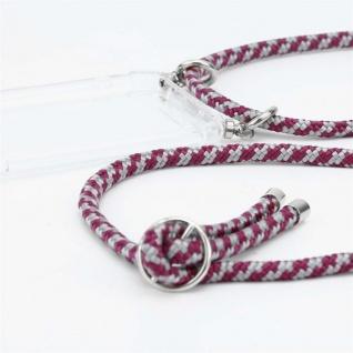 Cadorabo Handy Kette für Huawei P10 in ROT WEISS - Silikon Necklace Umhänge Hülle mit Silber Ringen, Kordel Band Schnur und abnehmbarem Etui - Schutzhülle - Vorschau 2