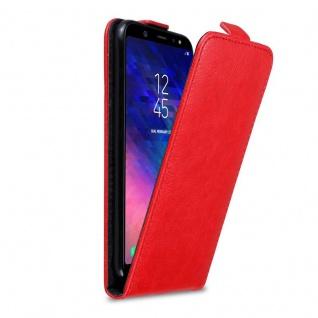Cadorabo Hülle für Samsung Galaxy A6 PLUS 2018 in APFEL ROT - Handyhülle im Flip Design mit Magnetverschluss - Case Cover Schutzhülle Etui Tasche Book Klapp Style