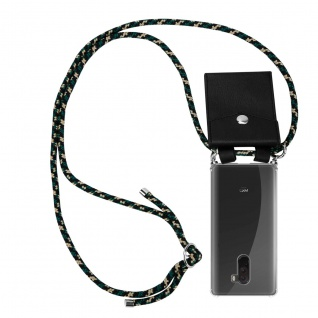 Cadorabo Handy Kette für Xiaomi Pocophone F1 in CAMOUFLAGE - Silikon Necklace Umhänge Hülle mit Silber Ringen, Kordel Band Schnur und abnehmbarem Etui - Schutzhülle