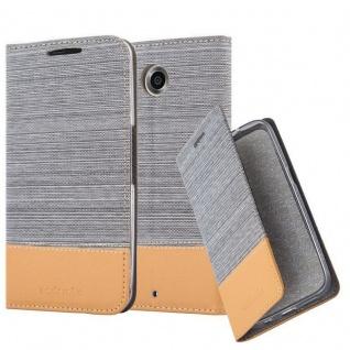 Cadorabo Hülle für Lenovo Google NEXUS 6 / 6X in HELL GRAU BRAUN - Handyhülle mit Magnetverschluss, Standfunktion und Kartenfach - Case Cover Schutzhülle Etui Tasche Book Klapp Style