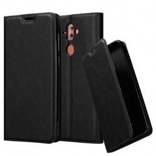 Cadorabo Hülle für Nokia 8 Sirocco in NACHT SCHWARZ - Handyhülle mit Magnetverschluss, Standfunktion und Kartenfach - Case Cover Schutzhülle Etui Tasche Book Klapp Style