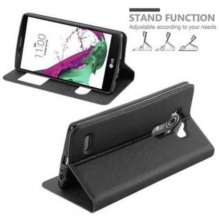 Cadorabo Hülle für LG G4 / G4 PLUS in KOMETEN SCHWARZ Handyhülle mit Magnetverschluss, Standfunktion und 2 Sichtfenstern Case Cover Schutzhülle Etui Tasche Book Klapp Style - Vorschau 4