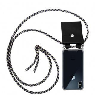 Cadorabo Handy Kette für Apple iPhone X / XS in DUNKELBLAU GELB - Silikon Necklace Umhänge Hülle mit Silber Ringen, Kordel Band Schnur und abnehmbarem Etui - Schutzhülle