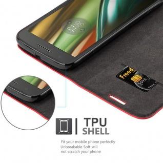 Cadorabo Hülle für Motorola MOTO E3 in APFEL ROT Handyhülle mit Magnetverschluss, Standfunktion und Kartenfach Case Cover Schutzhülle Etui Tasche Book Klapp Style - Vorschau 2