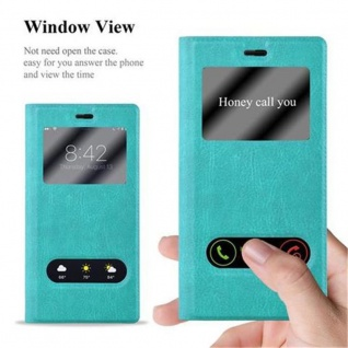 Cadorabo Hülle für Huawei P8 in MINT TÜRKIS - Handyhülle mit Magnetverschluss, Standfunktion und 2 Sichtfenstern - Case Cover Schutzhülle Etui Tasche Book Klapp Style - Vorschau 4