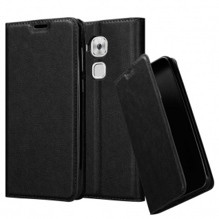 Cadorabo Hülle für Huawei NOVA PLUS in NACHT SCHWARZ - Handyhülle mit Magnetverschluss, Standfunktion und Kartenfach - Case Cover Schutzhülle Etui Tasche Book Klapp Style