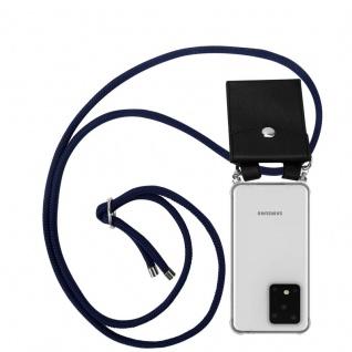 Cadorabo Handy Kette für Samsung Galaxy S20 ULTRA in TIEF BLAU Silikon Necklace Umhänge Hülle mit Silber Ringen, Kordel Band Schnur und abnehmbarem Etui Schutzhülle