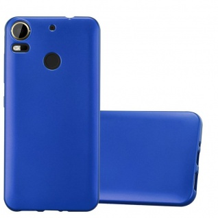 Cadorabo Hülle für HTC Desire 10 PRO in METALLIC BLAU - Handyhülle aus flexiblem TPU Silikon - Silikonhülle Schutzhülle Ultra Slim Soft Back Cover Case Bumper