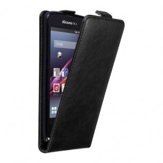 Cadorabo Hülle für Sony Xperia Z1 COMPACT in NACHT SCHWARZ - Handyhülle im Flip Design mit unsichtbarem Magnetverschluss - Case Cover Schutzhülle Etui Tasche Book Klapp Style