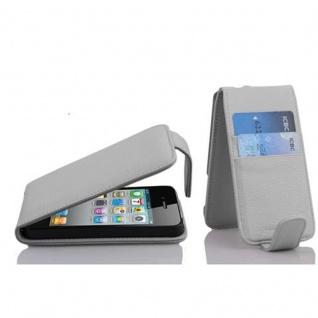 Cadorabo Hülle für Apple iPhone 4 / iPhone 4S - Hülle in SCHNEE WEIß ? Handyhülle mit Kartenfach im Flip Design - Case Cover Schutzhülle Etui Tasche