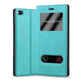 Cadorabo Hülle für Huawei P8 in MINT TÜRKIS Handyhülle mit Magnetverschluss, Standfunktion und 2 Sichtfenstern Case Cover Schutzhülle Etui Tasche Book Klapp Style