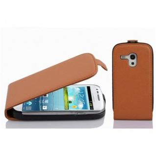 Cadorabo Hülle für Samsung Galaxy S3 MINI in COGNAC BRAUN - Handyhülle im Flip Design aus strukturiertem Kunstleder - Case Cover Schutzhülle Etui Tasche Book Klapp Style