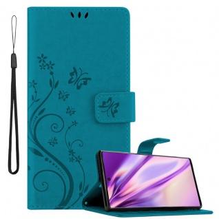 Cadorabo Hülle für Samsung Galaxy NOTE 10 in FLORAL BLAU Handyhülle im Blumen Design mit Magnetverschluss, Standfunktion und 3 Kartenfächern Case Cover Schutzhülle Etui Tasche