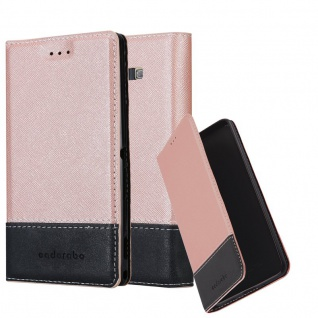 Cadorabo Hülle für Samsung Galaxy A7 2015 in ROSÉ GOLD SCHWARZ ? Handyhülle mit Magnetverschluss, Standfunktion und Kartenfach ? Case Cover Schutzhülle Etui Tasche Book Klapp Style