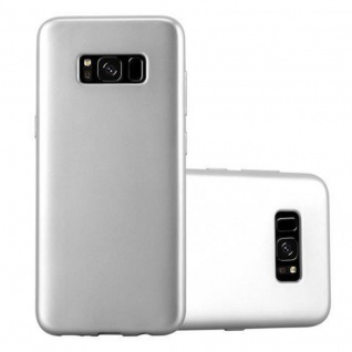 Cadorabo Hülle für Samsung Galaxy S8 in METALLIC SILBER - Handyhülle aus flexiblem TPU Silikon - Silikonhülle Schutzhülle Ultra Slim Soft Back Cover Case Bumper