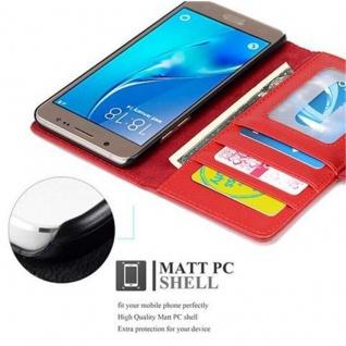 Cadorabo Hülle für Samsung Galaxy J5 2016 in INFERNO ROT - Handyhülle mit Magnetverschluss und 3 Kartenfächern - Case Cover Schutzhülle Etui Tasche Book Klapp Style - Vorschau 2