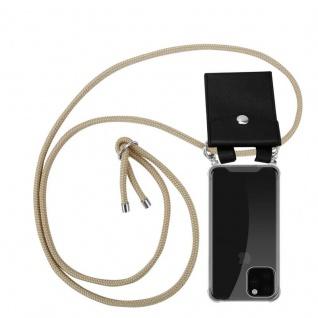 Cadorabo Handy Kette für Apple iPhone 11 PRO MAX (XI PRO MAX) in GLÄNZEND BRAUN - Silikon Necklace Umhänge Hülle mit Silber Ringen, Kordel Band Schnur und abnehmbarem Etui - Schutzhülle