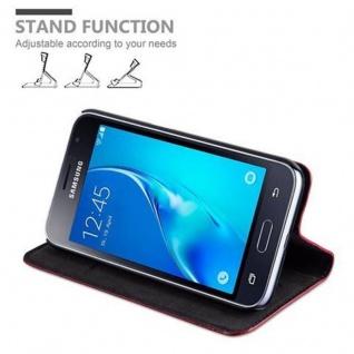 Cadorabo Hülle für Samsung Galaxy J1 2016 in APFEL ROT - Handyhülle mit Magnetverschluss, Standfunktion und Kartenfach - Case Cover Schutzhülle Etui Tasche Book Klapp Style - Vorschau 3